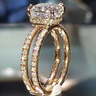 Women Gold Plated Oval Cubic Zirconia Ring Wedding Jewelry Lady Ring Size 6-10