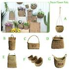 Hand-woven Straw Woven Pot Plant Storage Home Flower Vase Wall Hanging Basket
