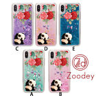 Panda&Flower Phone Case Cover TPU for iPhone X 6 7 Plus xr max Quicksand Soft