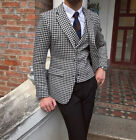 Men Premium Houndstooth Dogstooth Suit Checkered Tuxedos Blazer Prom Formal Suit