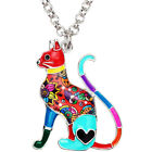 Enamel Alloy Floral Cat Necklace Choker Chain Pendant Jewelry For Women Girls