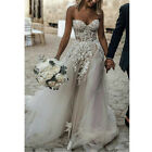 Lace Embroidery Sweetheart Corset Tulle Wedding Dresses 2019 Beach Bridal Dress