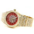 Men's Iced out Luxury Rapper's Lab Diamond Gold Metal Band Watch M08