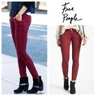 Free Pwople $138 Maroon Lace Skinny Jeans Size 24 Xs X-Small Burgundy Pants