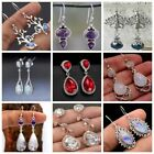 New 925 Silver Dangle Drop Earrings Moonstone Women Jewelry Tree Leaves Gift