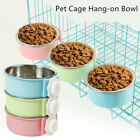 Hang-on Bowl For Pet Dog Cat Crate Cage Food Water Bowl Stainless Steel Bowl 1pc