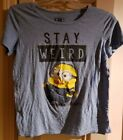 Despicabe Me Minions Stay Weird Blue T-Shirt Juniors Size Large