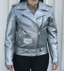 Ladies Silver Leather Classic Motorcycle Jacket w Half Belt
