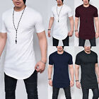 Men Longline Casual Shirt Curved Hem Plain Short Sleeve Slim Fit T-Shirt Tops xl image
