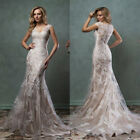 2019 Lace Wedding Dresses Mermaid Bridal Gown Sheer Back Covered Button Ivory