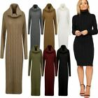 Ladies Cable Knitted Cowl Polo Neck Midi Dress Womens Long Sleeve Maxi Dress