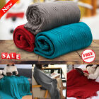 Super Soft Warm Wavy Pattern Knitted Tasseled Throw Blanket Breathable Couch Bed image