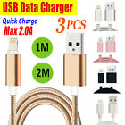 3PCS USB Cable Charger for i Phone X Black 1M
