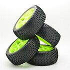 17mm Hub Wheel Rim & Tires 1:8 Scale Off-Road RC Car Buggy Tyre Green Pack of 4