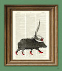 High Heel JAVELINA with a SUNDAY HAT print over an upcycled vintage dictionary