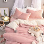 Home 4pc Bed Sheet Set Warm Berber Fleece Fur Ball Soft Pillowcase Quilt Cover image
