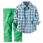 Carters 2T Plaid Woven Shirt & Pants Set Toddler Boy Clothes Green