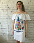 Handmade Womens White Embroidered Mexican Dress Off the Shoulder Bohemian Fiesta