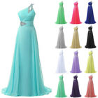 Formal One shoulder Chiffon Evening Party Ball Gown Long Prom Bridesmaid Dresses