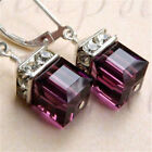 Vintage Women Amethyst Gemstone Wedding Engagement Earrings 925 Silver Jewelry