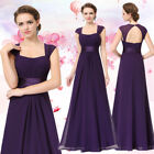 Ever-Pretty Long Bridesmaid Dresses Purple Backless Cap Sleeve Prom Gown 08834