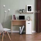 Oak Computer Desk with 2 White or Grey Gloss Drawers Home Office Modern Design