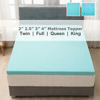 "2""/2.5""/3""/4'' Comfort Gel Memory Foam Mattress Topper Twin Full Queen King Blue image"