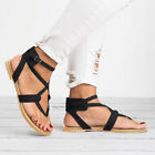 Women PU Leather Peeptoe Sandals Flats Ankle Strap Shoes Size 5/6/7/8/9/9.5/10