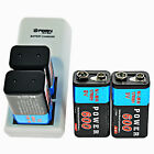 600mAh 9V 6F22 Rechargeable Ni-MH Batteries 9-Volt Battery Charger USA