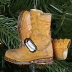 Army Boot Military Brown Resin Stone 3 x 3  Decorative Hanging Ornament