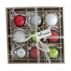 kat + annie 9 Count Christmas Brights' Ornament, Silver/White/Red/Lime Green