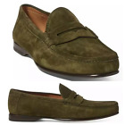 Ralph Lauren Purple Label Chalmers Olive Suede Leather Penny Loafers Shoes Italy