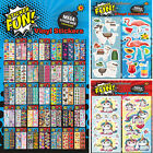 Childrens Character Fun Stickers Sheets Party Pack Loot Bag Fillers 36 Designs