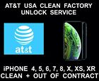 AT&T USA Clean, No Contract, iPhone Unlock, iPhone 4, 5, 6, SE, 7, 8, X, XS, XR