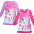 Unicorn Kids Girls Princess Dress Long Sleeve Party Wedding Bridesmaid Dresses