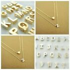 Women Gold-Silver Plated Alphabet Letter w-Heart A-Z Pendant Chain Necklace