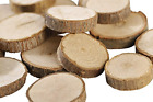 """Gmark Natural Wood Slices 1""""-1.5"""" Unfinished Round Discs 50 ct, Tree Bark Wooden"""