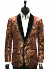 Manzini Burgundy Gold Paisley Foil Metallic Black Lapel Trendy Formal Fun Blazer