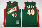 Men's Seattle SuperSonics NO.40 Shawn Kemp Basketball jersey Retro mesh Green on eBay