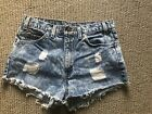 Urban Outfittets Urban Renewal Levis High Waisted Destroyed Denim Shorts -27/28