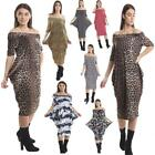 Womens Off The Shoulder Legen Look Midi Pattern Dress Baggy Loose Fit With Print