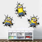 Minions 3 Pack 3d Cracked Wall Sticker Art Poster Vinyl Kid's Room Despicable Me