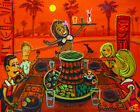 Pu Pu Platter Orange Tiki Hawaiian Painting Retro Shag Kitsch CBjork Art PRINT