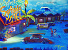Surfside Motel Seaside Surfing Retro Volkswagen VW Bus Painting CBjork Art PRINT