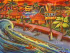 Fun Surf Resort Beach Wave Motel Surfing Tiki Hula Hawaiian Kitsch CBjork PRINT