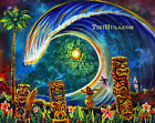 Big Wave Moon Surfing Tiki Hula Island Hawaiian Kitsch CBjork PRINT