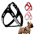 Soft Suede Leather Pet Dog Harness Rhinestone Dog Walking Vest for Chihuahua S-L