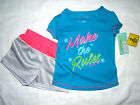 Skechers Active 2 pc Set T Shirt Shortts Girls 24 Month 2T Make the Rules NWT