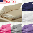 Silk Pillow Case Cushion Cover Pillowcase Standard Queen Size Solid Color USA image