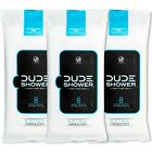 DUDE Shower Body Wipes (3 Packs 8 Wipes) Unscented Naturally Soothing Aloe an...